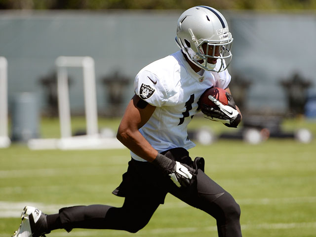 Brice Butler the Oakland Raiders participates in drills during Rookie Mini-Camp on May 11, 2013