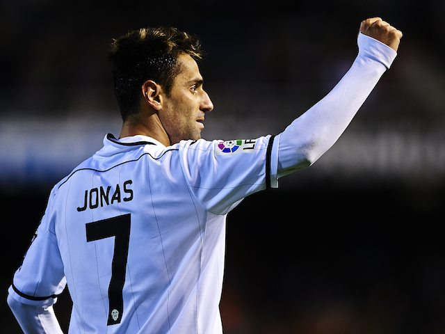 Jonas celebrates scoring for Valencia on April 7, 2013