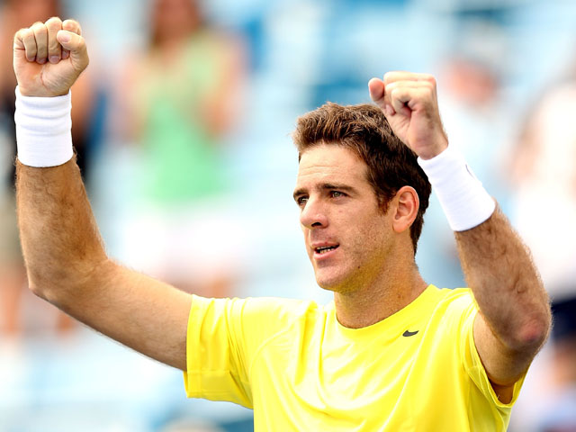 Juan Martin Del Potro of Argentina celebrates his win over Feliciano Lopez of Spain during the Western & Southern Open on August 15, 2013