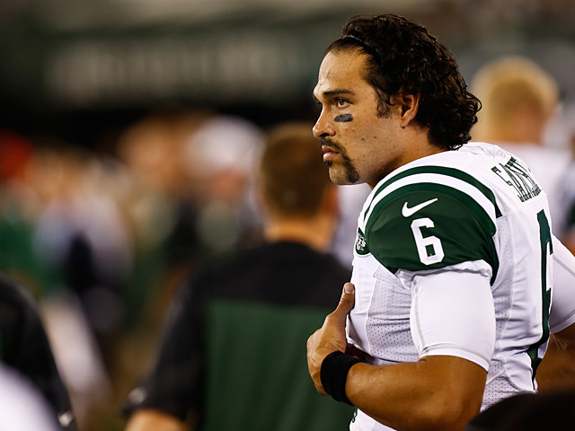 New York Jets' Mark Sanchez in action on August 17, 2013