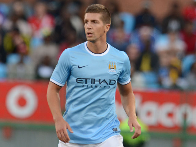 Matija Nastasic of Manchester City during the Nelson Mandela Football Invitational match between SuperSport United and Manchester City from Loftus Versfeld on July 14, 2013