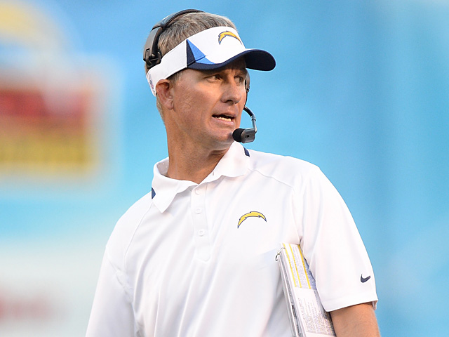San Diego Chargers head coach Mike McCoy on the sidelines during the match against Seattle Seahawks on August 8, 2013