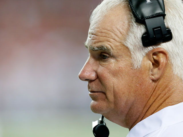 Head coach Mike Smith of the Atlanta Falcons against the Cincinnati Bengals at Georgia Dome on August 8, 2013