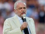 Napoli president Aurelio De Laurentis speaks to the crowd on July 29, 2013