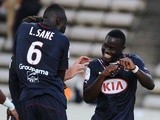 Bordeaux forward Henri Saivet celebrates with teammates after a goal against Toulouse on August 24, 2013