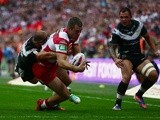Wigan's Iain Thornley scores the first try of the Challenge Cup final against Hull FC on August 24, 2013