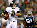 Matt Barkley #2 of the Philadelphia Eagles looks to pass in the second half against the Carolina Panthers on August 15, 2013