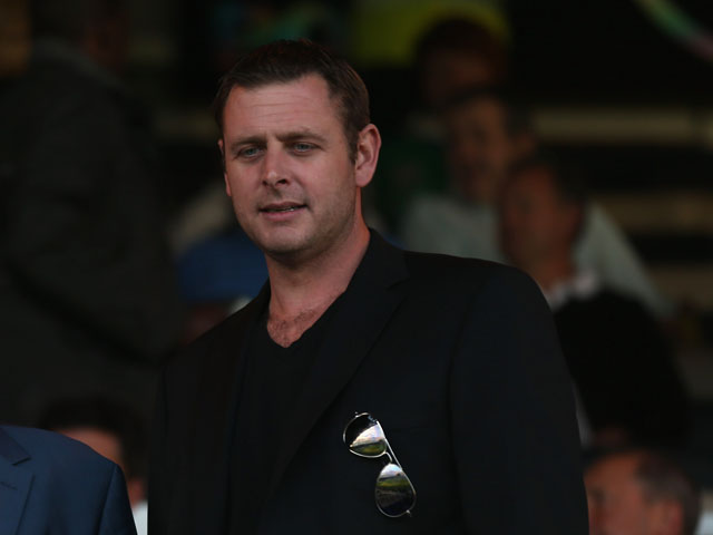 Peterborough United footbal club with club owner Darragh MacAnthony during the pre-season friendly match between Peterborough United and Aston Villa at London Road Stadium on August 1, 2012