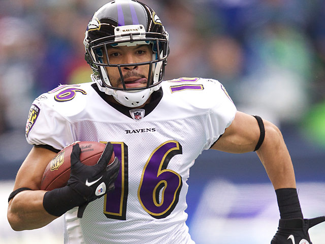 Baltimore Ravens' David Reed in action against Seattle Seahawks on November 13, 2011