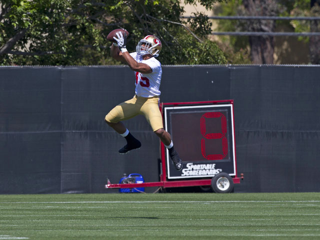 Eric Reid #35 of the San Francisco 49ers catches a pass during the San Francisco 49ers rookie minicamp at their training facility on May 10, 2013