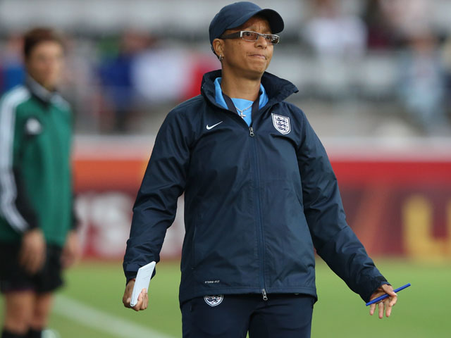 Head coach Hope Powell of England looks dejected during the UEFA Women's EURO 2013 Group C match between France and England at Linkoping Arena on July 18, 2013