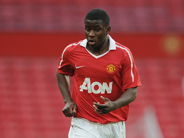 Manchester United's Larnell Cole in action against Chelsea during the FA Youth Cup Semi Final on April 20, 2011