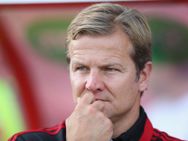Caretaker manager of Swindon Town Mark Cooper in action during the pre season friendly between Tottenham Hotspur and Swindon Town at the County Ground on July 16, 2013