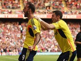 Steven Fletcher of Sunderland celebrates his goal with Adam Johnson during the Barclays Premier League match between Crystal Palace and Sunderland at Selhurst Park on August 31, 2013
