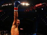 Lucas Matthysse celebrates his third round TKO win against Lamont Peterson during their Welterweight fight at Boardwalk Hall Arena on May 18, 2013