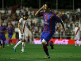 Ruben Garcia celebrates scoring their opening goal during the La Liga match between Rayo Vallecano de Madrid and Levante UD at Estadio Teresa Rivero on August 30, 2013