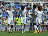 Isco of Real Madrid celebrates after scoring Real's 3rd goal during the La Liga match between Real Madrid CF and Athletic Club Bilbao at estadio Santiago Bernabeu on September 1, 2013