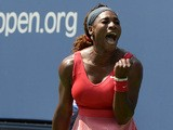 Serena Williams celebrates her win against Galina Voskoboeva during the second round of the US Open on August 29, 2013