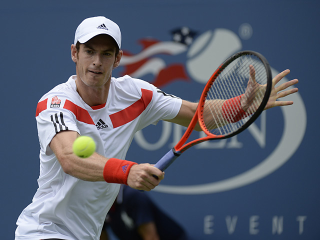 Andy Murray in action against Florian Mayer during their US Open third round match on September 1, 2013