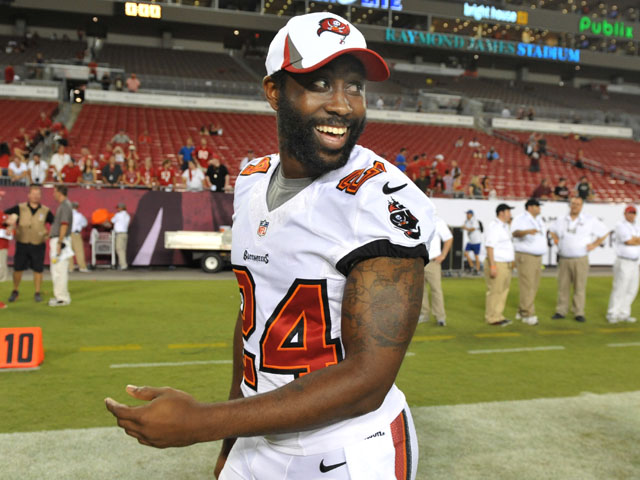 Cornerback Darrelle Revis #24 of the Tampa Bay Buccaneers leaves the field after the game against the Washington Redskins August 29, 2013