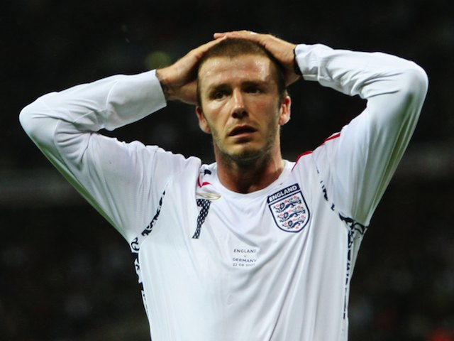 David Beckham despairs during the friendly between England and Germany on August 22, 2007
