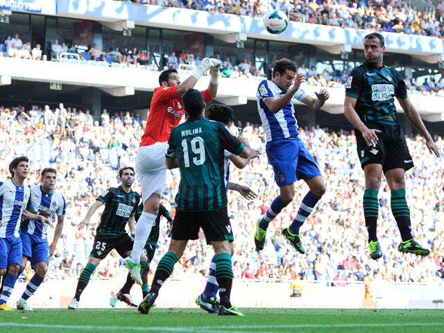 Goalkeeper Kiko Casilla of RCD Espanyol goes for a high ball during the La Liga match between RCD Espanyol and Real Betis Balompie at Cornella-El Prat Stadium on September 1, 2013