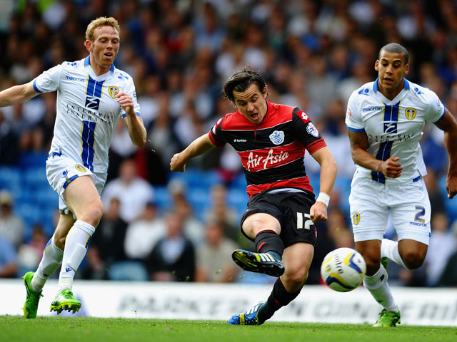 Joey Barton of Queens Park Rangers fires in a shot during the Sky Bet Championship match between Leeds United and Queens Park Rangers at Elland Road on August 31, 2013