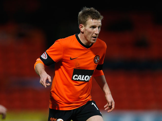 Michael Gardyne of Dundee United in action during the Scottish Premier League Match between Dundee United and St Mirren at Tannadice Park on December 30, 2012