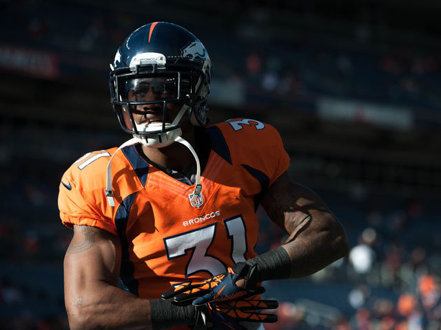 Cornerback Omar Bolden #31 of the Denver Broncos before a game against the Tampa Bay Buccaneers at Sports Authority Field Field at Mile High on December 2, 2012