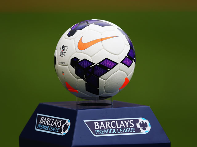 The season 2013-2014 match ball is seen before the Barclays Premier League match between Newcastle United and Fulham at St James' Park on August 31, 2013