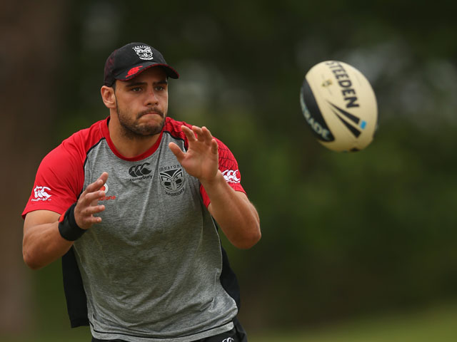 Steve Rapira of the Warriors takes a pass during a Warriors NRL training session at Cornwall Park on December 20, 2012