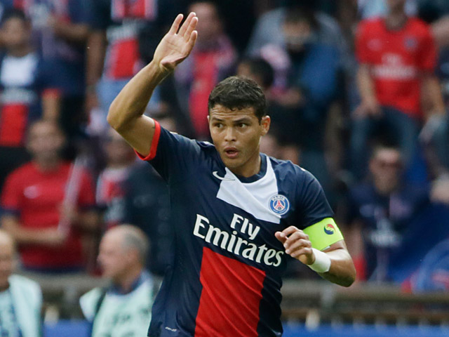 Paris Saint-Germain's Thiago Silva in action during the match against Guingamp on August 31, 2013
