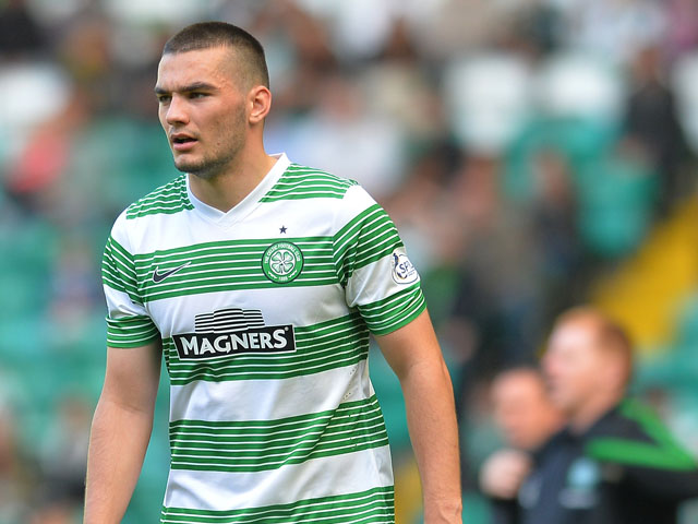 Tony Watt of Celtic in action during the Scottish Premier League game between Celtic and Ross County at Celtic Park Stadium on August 03, 2013