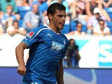 Hoffenheim's Kevin Volland plays the ball during the German first division Bundesliga match between 1899 Hoffenheim and 1 FC Nuremberg in the stadium in Sinsheim, Germany, on August 10, 2013