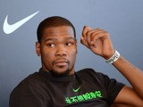 US basketball player Kevin Wayne Durant of NBA team Oklahoma City Thunder speaks during a press conference in Taipei on July 16, 2013.