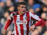 On-loan Brentford forward Marcello Trotta in action against Chelsea on February 17, 2013