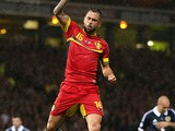 Steven Defour of Belgium celebrates his goal during the 2014 World Cup Group A qualifying football match between Scotland and Belgium at Hampden Park in Glasgow, Scotland, on September 6, 2013