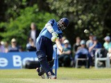 Shivnarine Chanderpaul of Derbyshire hits out to the boundary during the Yorkshire Bank 40 match between Derbyshire and Essex at Leek Cricket Club on June 9, 2013