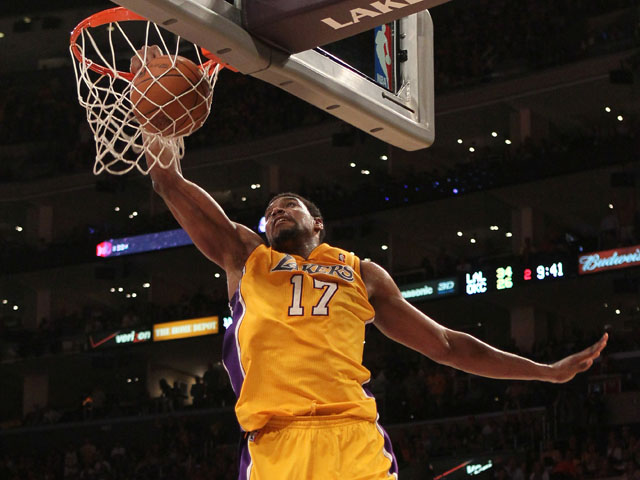 Andrew Bynum #17 of the Los Angeles Lakers dunks the ball in the second quarter while taking on the Oklahoma City Thunder in Game Four of the Western Conference Semifinals in the 2012