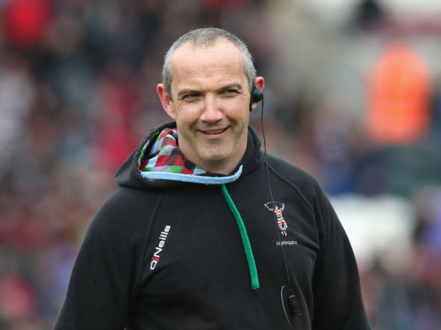 Conor O'Shea, the Harlequins director of rugby looks on during the Aviva Premiership semi final match between Leicester Tigers and Harlequins at Welford Road on May 11, 2013