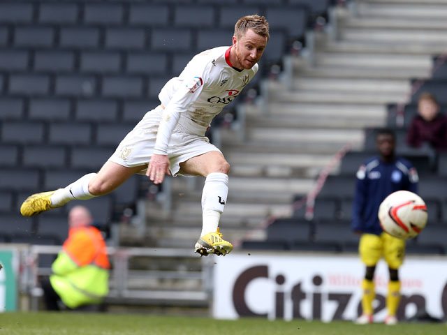 MK Dons player Dean Bowditch in action during the npower League One match between MK Dons and Tranmere Rovers at Stadium MK on March 16, 2013