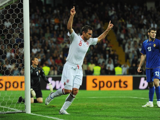 Frank Lampard celebrates scoring for England against Moldova.