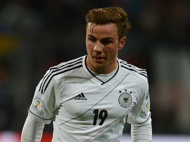 Germany's Mario Gotze in action Kazakhstan on March 26, 2013