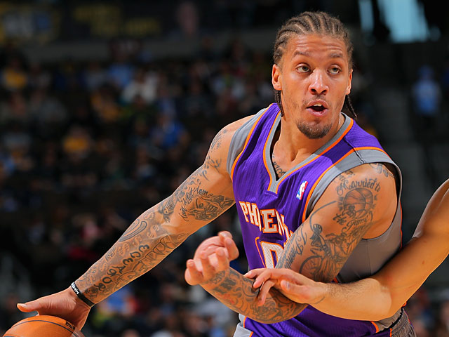 Phoenix Suns' Michael Beasley in action against Denver Nuggets on April 17, 2013