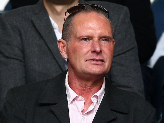Former Spurs and England player Paul Gascoigne looks on during the Barclays Premier League match between Tottenham Hotspur and Everton at White Hart Lane on April 7,