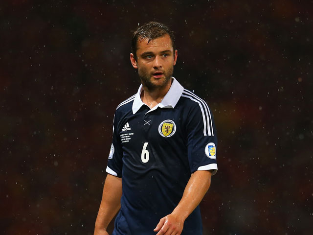 Shaun Maloney of Scotland in action during the FIFA 2014 World Cup Qualifying Group A match between Scotland and Belgium at Hampden Park on September 6, 2013