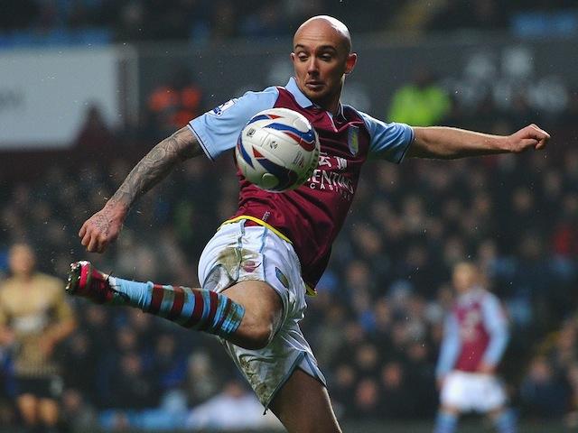 Aston Villa midfielder Stephen Ireland controls the ball in the League Cup semi-final against Bradford on January 22, 2013
