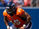Offensive guard Manny Ramirez #65 of the Denver Broncos in action during a pre-season game against the San Francisco 49ers at Sports Authority Field Field at Mile High on August 26, 2012