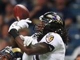 Marlon Brown of the Baltimore Ravens takes a catch against St Louis on August 29, 2013