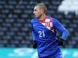 Mladen Petric of Croatia attacks during the International Friendly match between Croatia and Korea Republic at Craven Cottage on February 6, 2013